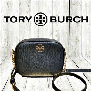 Tory Burch Logo Round Crossbody Purse Black Gold